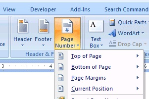 microsoft word 2007,page numbers IN MICROSOFT WORD 2007,techbuzzes