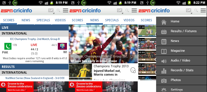 Download ESPNcricinfo for Android , iOS , Windows Phone