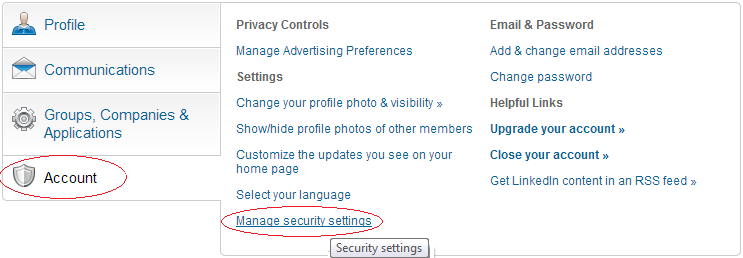Manage security settings,linkedin Manage security settings,techbuzzes