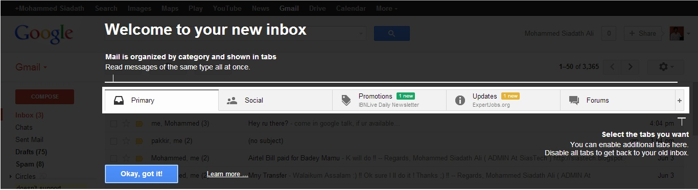 Gmail New inbox,Google new inbox,techbuzzes