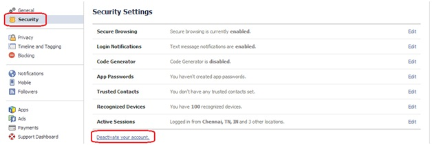 delete facebook account,Security Settings,facebook Security Settings,techbuzzes