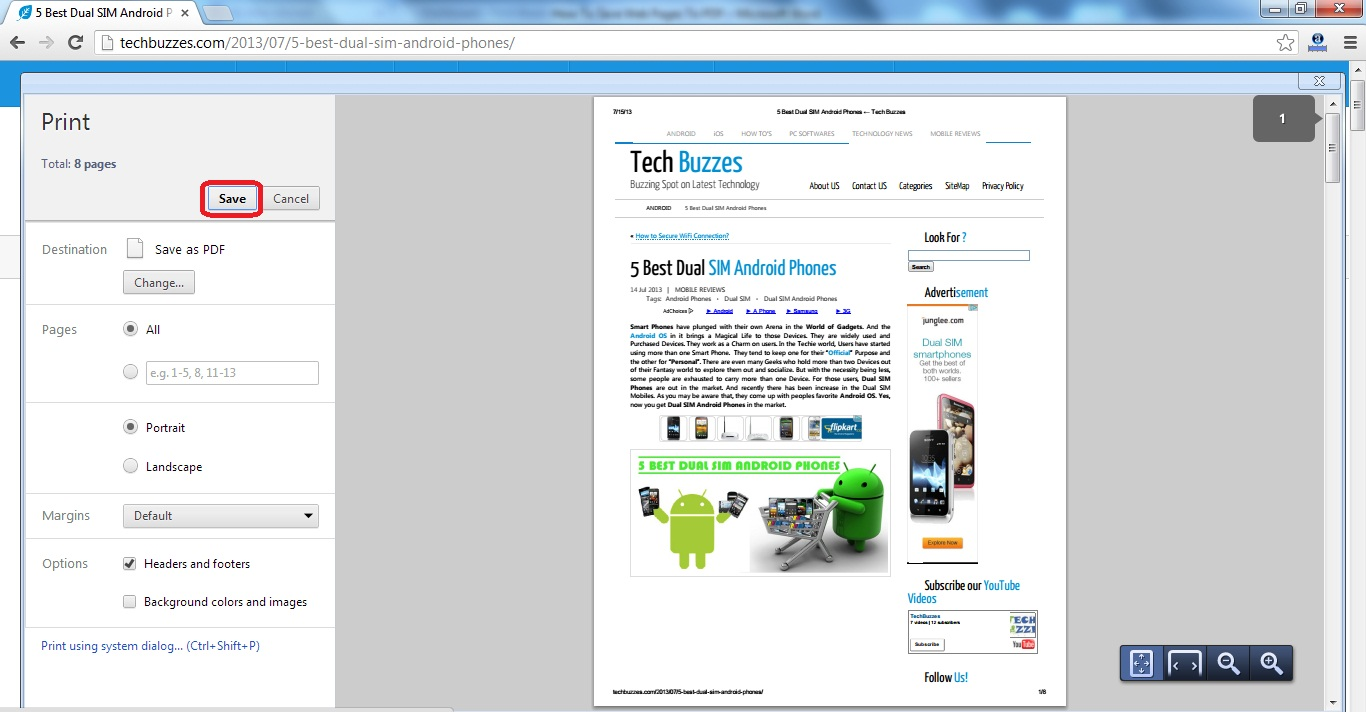 Save Web Pages To PDF, Techbuzzes webpage, Webpages to PDF
