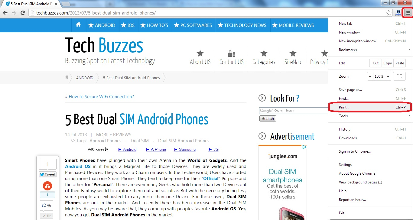 Save Web Pages To PDF, TechBuzzes, Dual Sim Android Phones,