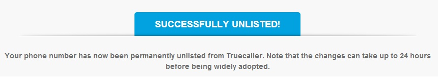 TrueCaller Unlist Successful , Number From TrueCaller
