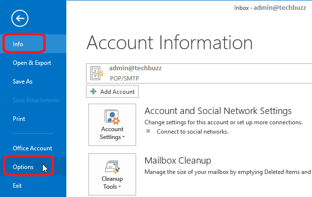Account Info,MS Outlook 2013 Account Info,