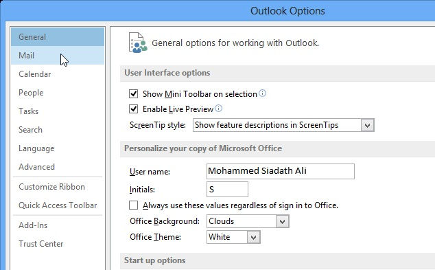 Mail Options, MS Outlook 2013 Mail Option,