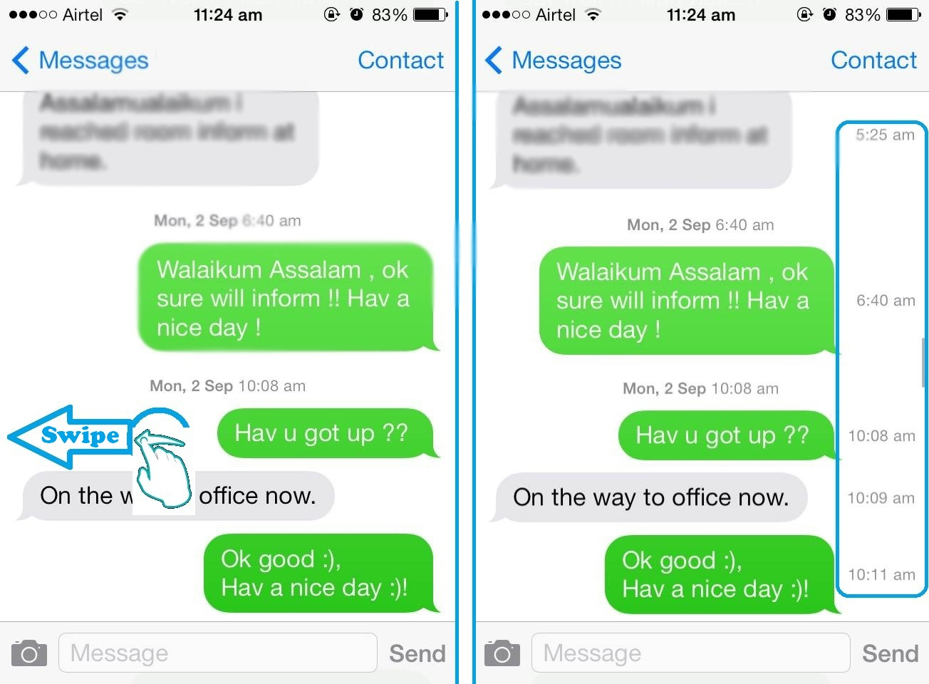 Timestamp, Message Timestamp, iOS 7 message , ios 7 Timestamp, imessage ios7, techbuzzes