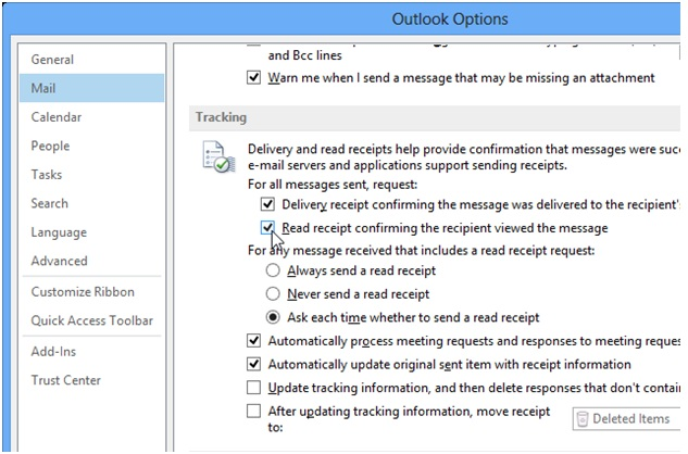 Outlook 2013 tracking, techbuzzes