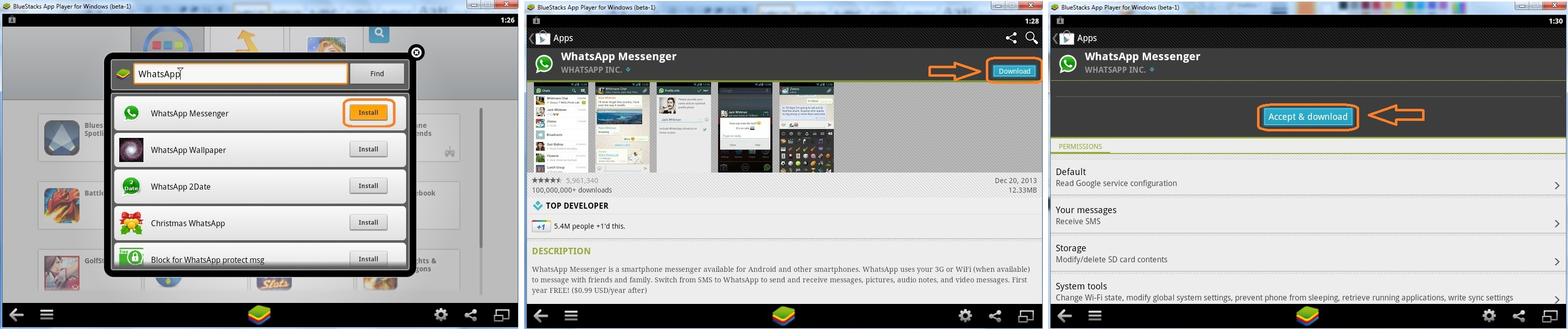 WhatsApp Googleplay Accept & Download, Install