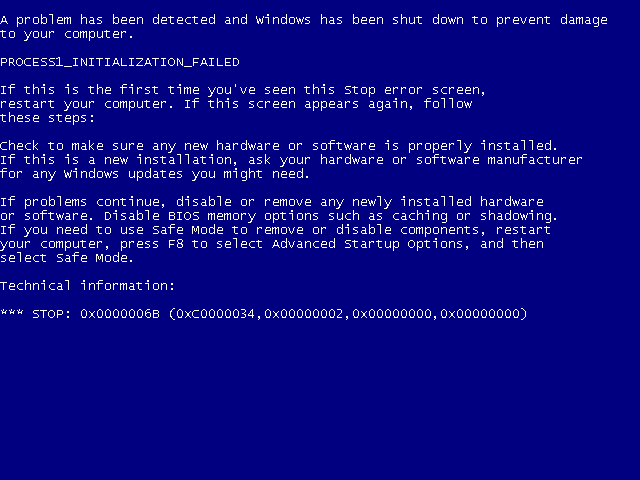 "PROCESS1_INITIALIZATION_FAILED"" 0x0000006B, techbuzzes, techbuzzes.com, BSOD"